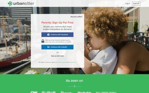 Screenshot of Signup Page urbansitter.com - Sign Up for UrbanSitter parents - UrbanSitter - captured Nov. 21, 2015