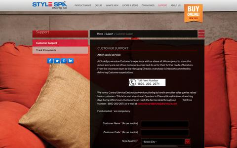 Screenshot of Support Page stylespafurniture.com - Customer Support | Style Spa Furniture - captured Oct. 9, 2014