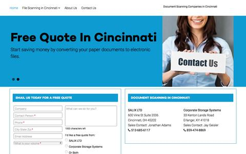 Screenshot of Home Page documentscanning-cincinnati.com - Document Scanning in Cincinnati, OH - Document Scanning in Cincinnati - captured Jan. 28, 2016