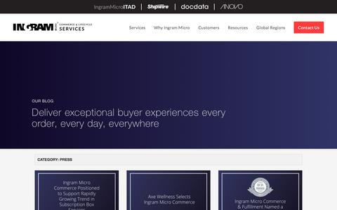 Screenshot of Press Page ingrammicroservices.com - Press Archives - Commerce & Fulfillment - captured July 6, 2018