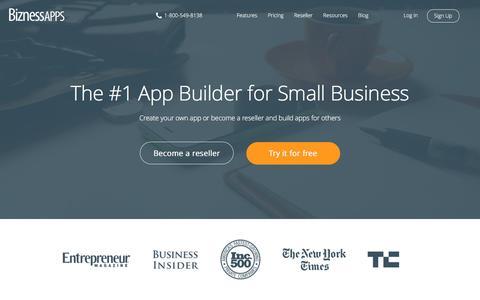 Screenshot of Home Page biznessapps.com - Mobile App Maker For Small Business | Bizness Apps - captured Feb. 10, 2017