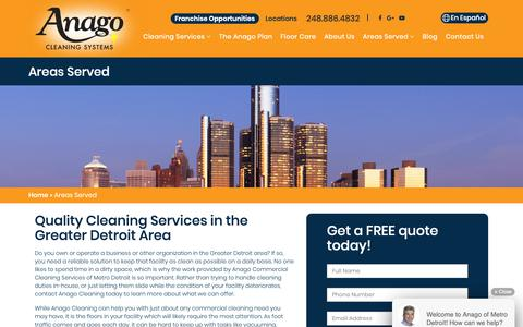 Screenshot of Locations Page anagometrodetroit.com - About our Building Cleaning Services   Cleaning Service Detroit - captured Oct. 3, 2018