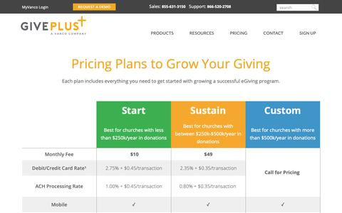 Screenshot of Pricing Page giveplus.com - Pricing - Compare Plans | GivePlus - captured Nov. 3, 2018