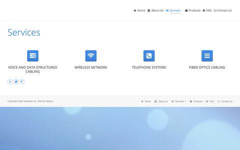 Screenshot of Services Page plrnet.ca - Polar Networks Inc |   Services - captured Sept. 28, 2018