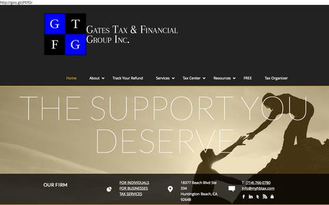 Screenshot of Home Page myhbtax.com - Gates Tax & Financial Group Inc. 714.766.0780 - captured Oct. 1, 2014