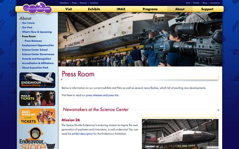 Screenshot of Press Page californiasciencecenter.org - Press Room | California Science Center - captured May 13, 2017