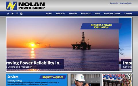 Screenshot of Home Page nolanpower.com - Nolan Power - We Sell Reliability - captured Feb. 15, 2016