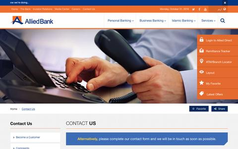 Screenshot of Contact Page abl.com - Contact Us – Allied Bank Limited - captured Oct. 31, 2016