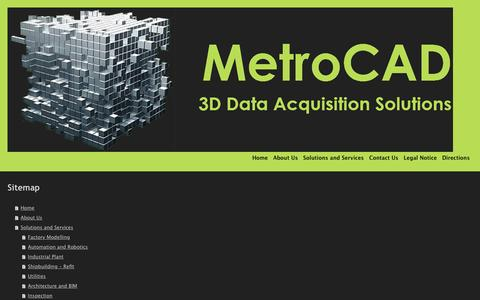 Screenshot of Site Map Page metrocad.co.uk - MetroCAD 3D Laser Scanning Data Acquisition Solutions for and existing Plant, Machinery or Architechture - Home - captured Nov. 28, 2016