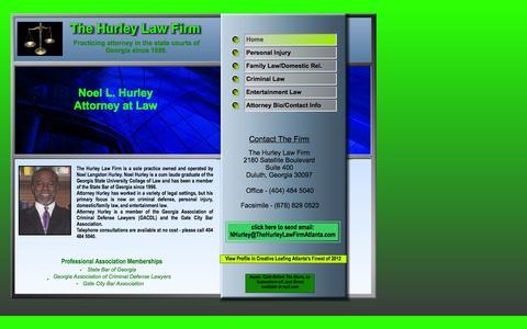 Screenshot of Home Page thehurleylawfirmatlanta.com - The Hurley Law Firm Atlanta Home Page - captured Oct. 6, 2014