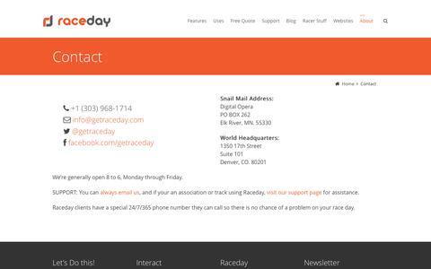 Screenshot of Contact Page getraceday.com - Contact - Raceday - captured Nov. 28, 2016
