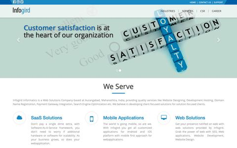 Screenshot of Home Page infogird.com - Website Design Devlopment in Aurangabad   Mobile App, Ecommerce Web Devlopment, SEO Company India. - captured Oct. 3, 2018