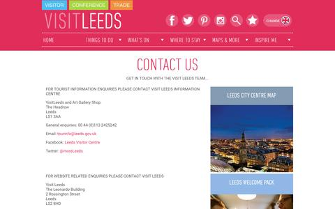 Screenshot of Contact Page visitleeds.co.uk - Visit Leeds - Contact Us - captured Nov. 23, 2015
