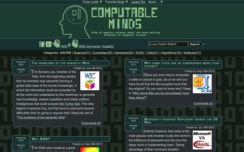 Screenshot of Home Page computableminds.com - Computable Minds: Popular computer science - captured Jan. 27, 2018