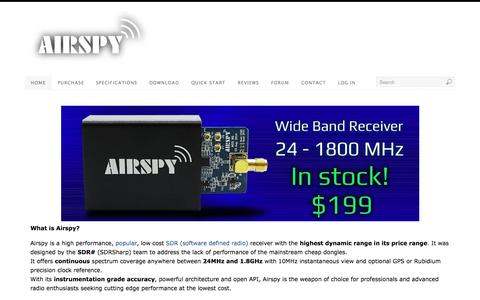 Screenshot of Home Page airspy.com - Airspy SDR# | Low Cost High Performance Software Defined Radio - captured Sept. 11, 2015