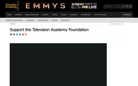Screenshot of Support Page emmys.com - Donate | Television Academy - captured May 20, 2019