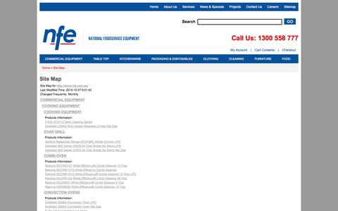 Screenshot of Site Map Page nfe.com.au - National Food Service Equipment Sitemap - captured Oct. 6, 2014