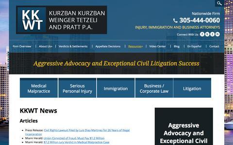 Screenshot of Press Page kkwtlaw.com - News | Kurzban Kurzban Weinger Tetzeli & Pratt P.A. | Miami, FL - captured Feb. 12, 2016