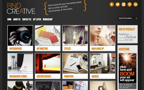 Screenshot of Home Page findacreative.com.au - Find a Creative   Find a team for your next photo shoot - captured Sept. 30, 2014