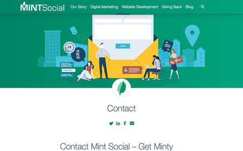 Screenshot of Contact Page mintsocial.com - Contact - MINT Social - captured Nov. 21, 2019