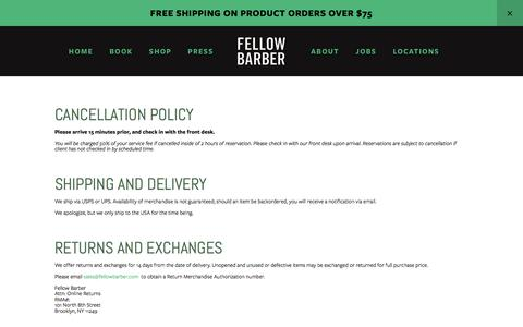 Screenshot of Terms Page fellowbarber.com - Terms & Conditions — FELLOW BARBER - captured Aug. 13, 2018