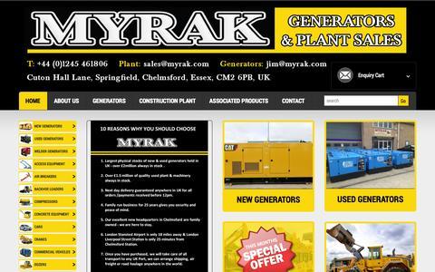 Screenshot of Home Page myrak.com - Myrak Generators And Plant Sales | - captured Sept. 30, 2014