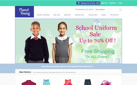 Screenshot of Home Page About Page Privacy Page Contact Page Site Map Page Login Page Terms Page planetyoung.com - Planet Young   School Uniforms   Infant Clothing   Toddler Clothing - captured Sept. 30, 2014