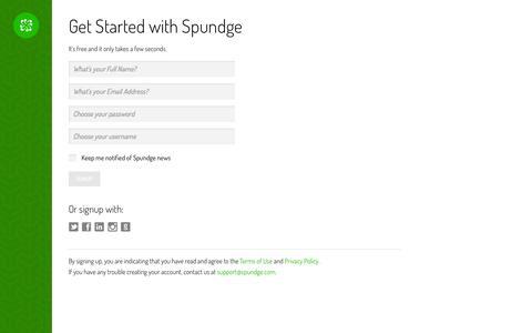 Screenshot of Signup Page spundge.com - Signup - captured Sept. 18, 2014