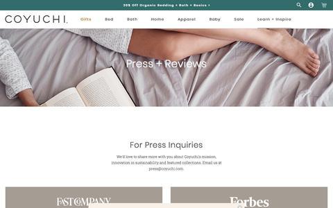 Screenshot of Press Page coyuchi.com - Press | Coyuchi - captured Oct. 30, 2019