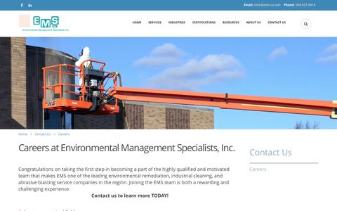 Screenshot of Jobs Page ems-us.net - Careers at Environmental Management Specialists | Environmental Management Specialists - captured Nov. 9, 2016