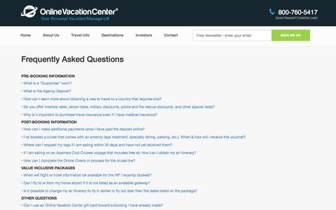 Screenshot of FAQ Page onlinevacationcenter.com - FAQs - captured Sept. 26, 2015