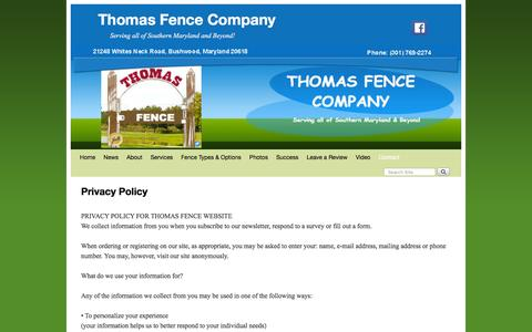 Screenshot of Privacy Page somdfence.com - Privacy page for Thomas Fence Company - Southern Maryland - captured Jan. 15, 2016