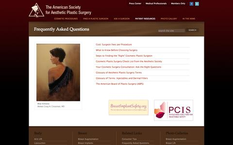 Screenshot of FAQ Page surgery.org - Consumer Resources - Frequently Asked Questions - captured Sept. 22, 2014