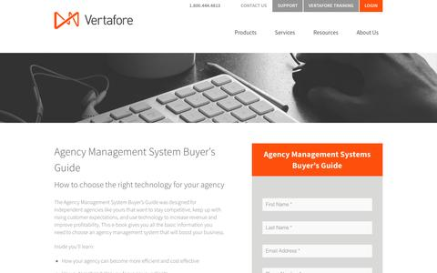 Screenshot of Landing Page vertafore.com - Agency Management Systems Buyer's Guide - captured Aug. 20, 2016