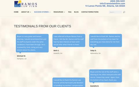 Screenshot of Testimonials Page ramoslawfirm.com - Workers Compensation Claim Testimonials - captured Nov. 4, 2017