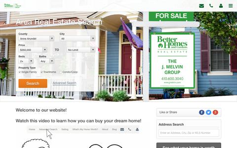 Screenshot of Home Page jmelvin.com - Annapolis Real Estate | Annapolis Homes for Sale - captured Nov. 1, 2018