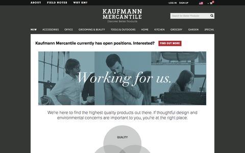 Screenshot of Jobs Page kaufmann-mercantile.com - Kaufmann Mercantile - captured Sept. 16, 2014