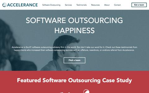 Screenshot of Testimonials Page accelerance.com - #1 Software Outsourcing Advisory Firm   Software Outsourcing Case Studies - captured July 28, 2018
