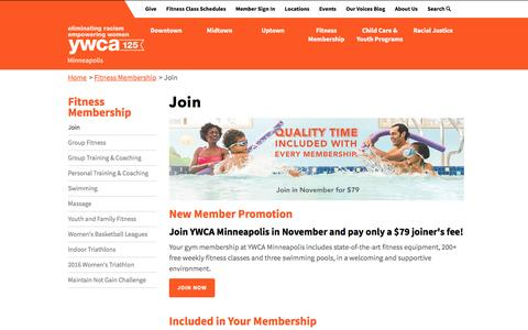 Screenshot of Signup Page ywcampls.org - Join Our Gym at YWCA Minneapolis - captured Nov. 18, 2016
