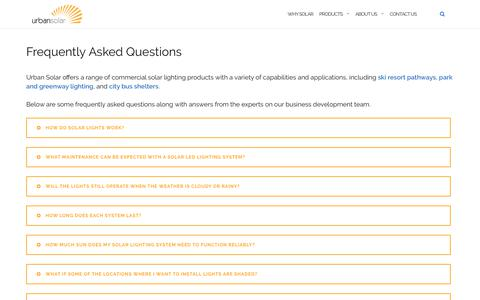 Screenshot of FAQ Page urbansolarcorp.com - Frequently Asked Questions - Urban Solar - captured May 19, 2019