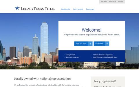 Screenshot of Home Page legacytexastitle.com - Overview | LegacyTexas Title - captured Dec. 8, 2015