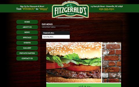 Screenshot of Menu Page fitzgeraldsgreenville.com - Fitzgeralds 113 east 5th st Greenville NC (252) 355-0311 - captured Oct. 6, 2014
