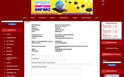 Screenshot of Contact Page spacecartoonsafari.eu - Contact - captured Sept. 30, 2014