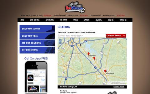 Screenshot of Locations Page tireworld.us - Smyrna, TN Auto & Tire Shop Location | Tire World - captured Oct. 7, 2014