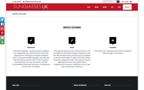 Screenshot of Services Page sunglassesuk.com - Service Column - Sunglasses UKSunglasses UK - captured Feb. 16, 2016