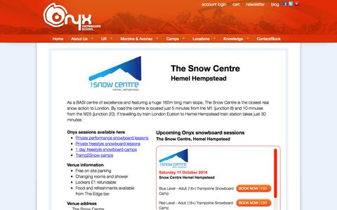 Screenshot of Locations Page onyxsnowboarding.com - Snowboarding lessons at The Snow Centre, Hemel Hempstead, UK - captured Oct. 1, 2014