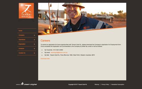 Screenshot of Jobs Page tanami.com.au - Careers - Tanami Gold NL - captured Oct. 24, 2017