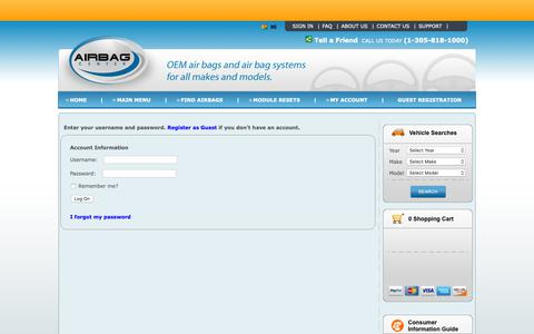 Screenshot of Login Page airbagcenter.com - LogOn - captured Oct. 30, 2018