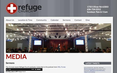 Screenshot of Press Page seekrefuge.net - Media – Refuge Church - captured July 6, 2017