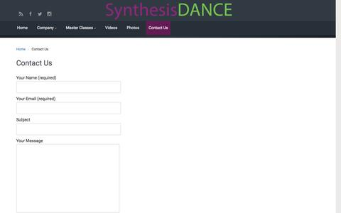 Screenshot of Contact Page synthesisdance.org - Contact Us – Synthesis Dance - captured Dec. 2, 2016